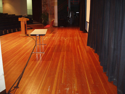 school auditorium wood floor repair